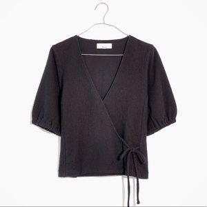 Madewell Texture & Thread Puff Sleeve Wrap Top